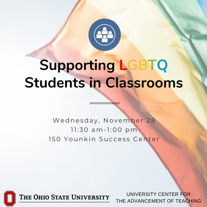 Our role as faculty and instructors includes creating diverse, inclusive environments where all students learn and engage fully. But how do we ensure this for our LGBTQ students? Register: https://t.co/O7SfIWiTAg