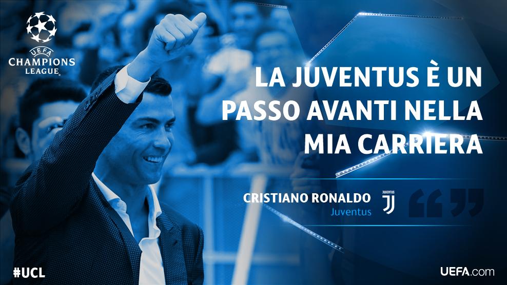 ⚪⚫ Prima conferenza stampa in bianconero per @Cristiano #Ronaldo... ... e idee chiarissime, come al solito 💪  #CR7 vuole solo il 🔝 ...e per  il 🔝 si chiama  ⚪⚫ @juventusfcDay#RonaldoDay