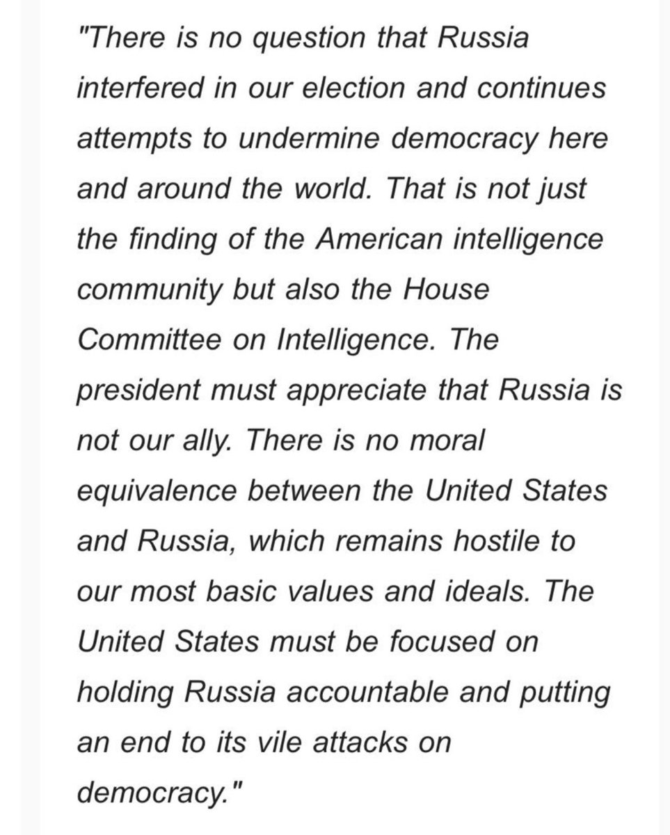 GOP @SpeakerRyan comes out strongly against Trump on Russia: 'There is no question that Russia interfered in our election and continues attempts to undermine democracy...The president must appreciate that Russia is not our ally. There is no moral equivalence""