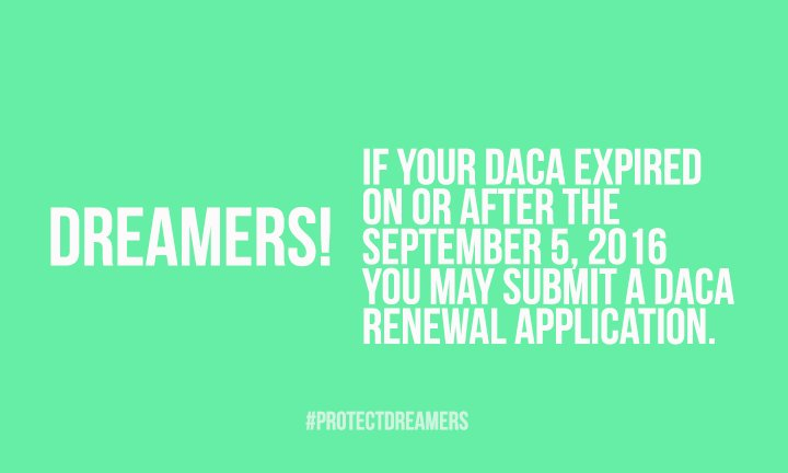 If your DACA expired on or after September 5, 2016 you may submit a DACA renewal application. Apply with USCIS → https://t.co/OmKUXu7tU1