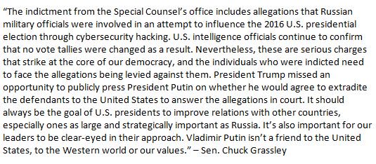 GRASSLEY: 'President Trump missed an opportunity to publicly press President Putin on whether he would agree to extradite the defendants to the United States to answer the allegations in court.'