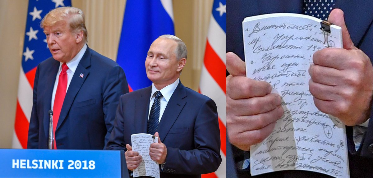 """Close-up of Putin's notes shows the following list of topics, from what I can decipher: 1. """"Interference"""" (in quotes) - proposal   2. #Ukraine - new ideas, transit of gas 3. Syria - joint humanitarian efforts"""