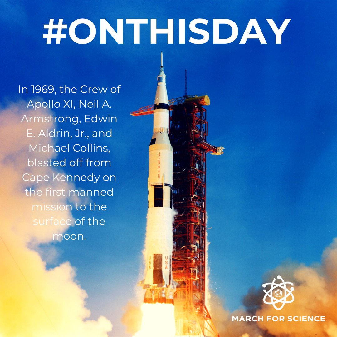#OnThisDay in 1969, at 9:32am E.T.,  Apollo 11, the first U.S. lunar landing mission, is launched from Cape Canaveral, Florida, on a historic journey to the surface of the moon. After traveling 240,000 miles in 76 hours, Apollo 11 entered into a lunar orbit on July 19. <br>http://pic.twitter.com/pt1UK06Fzv