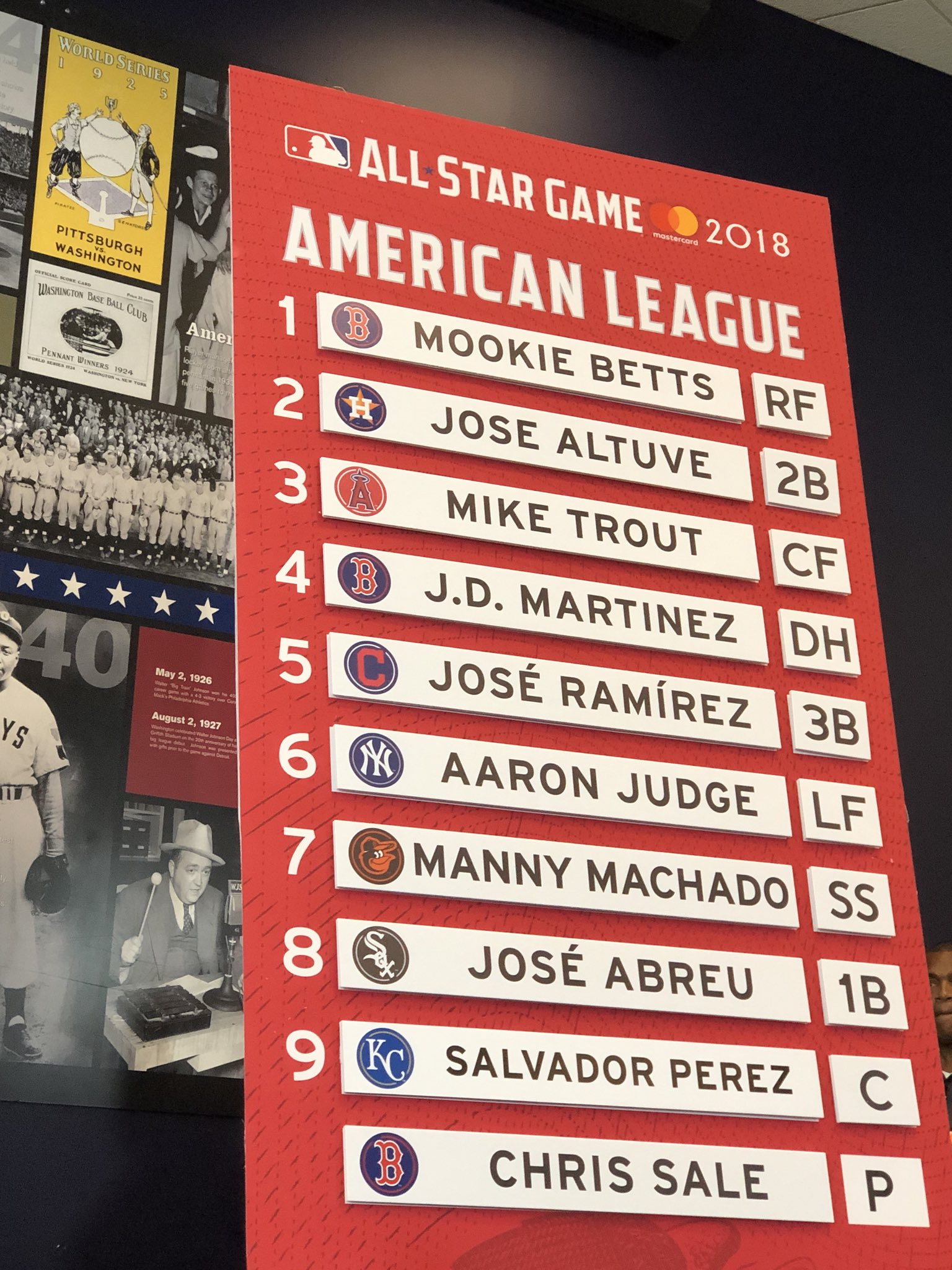 2018 #AllStarGame Lineup:   Leadoff: Mookie  Cleanup: J.D.  SP: Sale https://t.co/fZp0Hz36wy