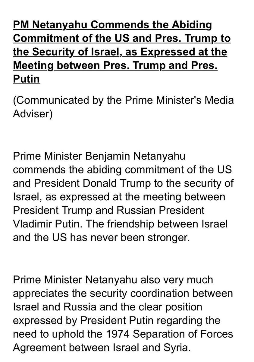 William Daroff On Twitter Statement Of Israel Pm Netanyahu On