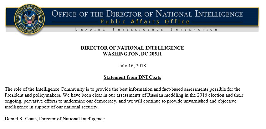 Statement just now from DNI Dan Coates regarding intell assessment of Russia interference.....