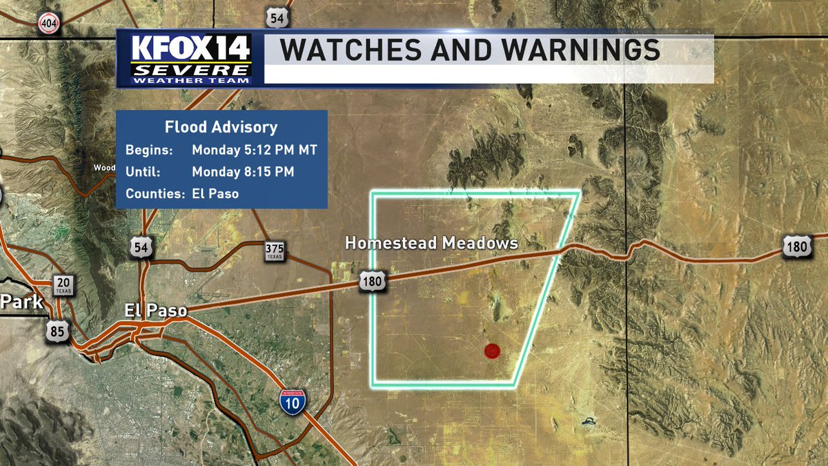 A Flood Advisory has been issued for Far East El Paso County until 8:15 p.m.