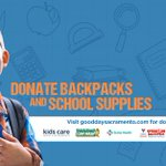 Image for the Tweet beginning: Donate backpacks and schools supplies