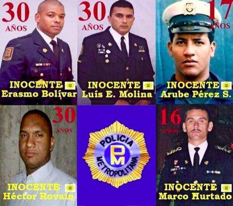 Marco Hurtado, Arube Pérez, Erasmo Bolívar, Héctor Rovaín y Luis Molina tienen 15 años presos en la cárcel militar de Ramo Verde por motivos políticos. Todos son inocentes y deben salir en LIBERTAD #LiberenALosPolicías