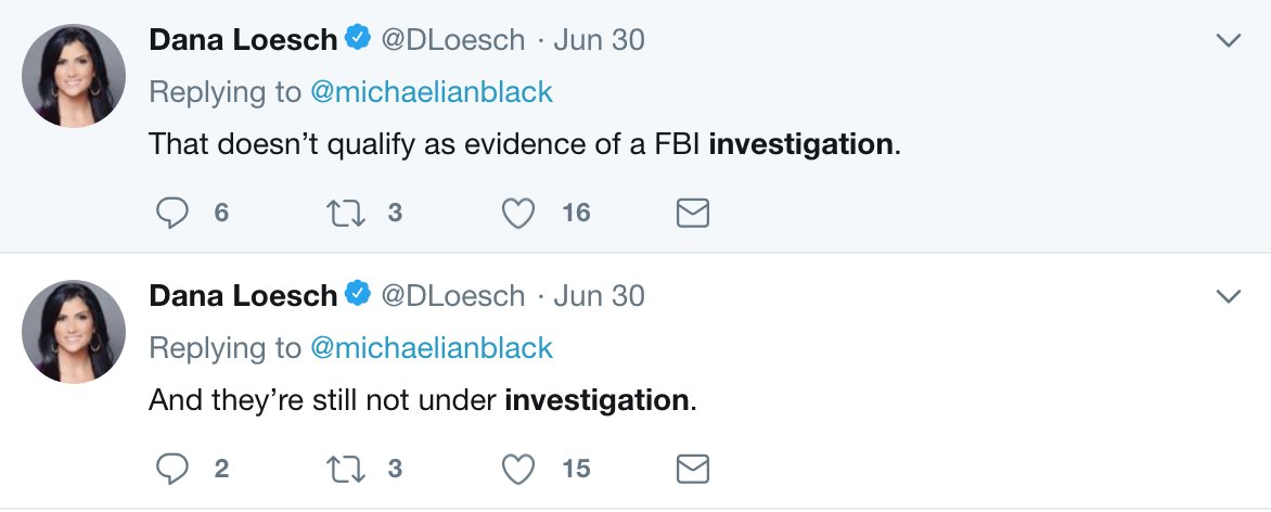 Hi @DLoesch, do you remember a couple weeks ago when you told me the NRA isn't under FBI investigation? Did you see the news today? They're under investigation.