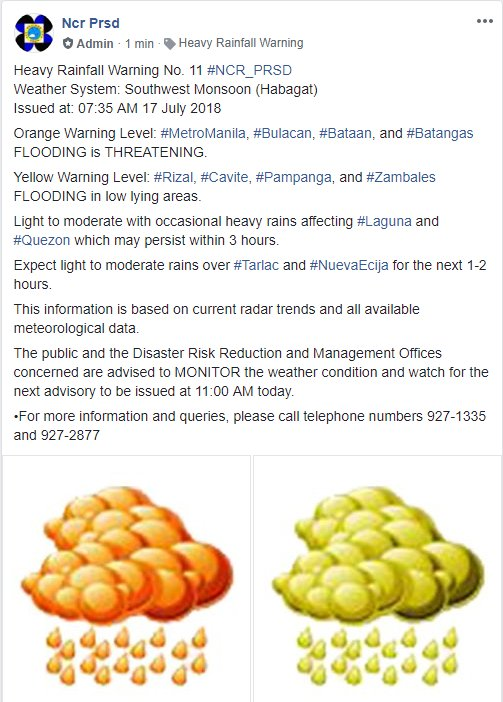 Heavy Rainfall Warning No. 11 #NCR_PRSD Weather System: Southwest Monsoon (Habagat) Issued at: 07:35 AM 17 July 2018