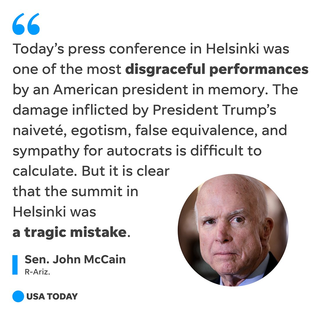 Sen. John McCain is one of a growing number of Republican lawmakers that criticized President Donald Trump's joint appearance with Russian President Vladimir Putin. https://t.co/Gs3yHqm6dw   #HelsinkiSummit