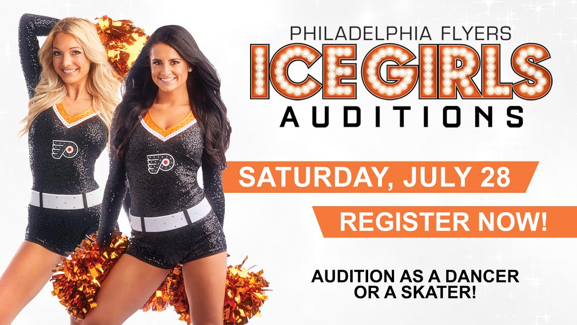 Think you have what it takes to be a Flyers Ice Girl?! The Philadelphia Flyers are holding auditions and are seeking energetic, outgoing candidates who love the game of hockey! Auditions are open to DANCERS and SKATERS! Register now: PhiladelphiaFlyers.com/IceGirlAuditio…