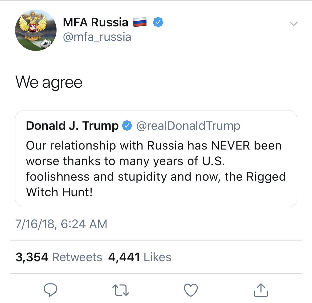 When the Russian Foreign Ministry tweets its agreement to an America president publicly attacking and blaming his own country. I feel like I'm in the twilight zone! #treasonsummit