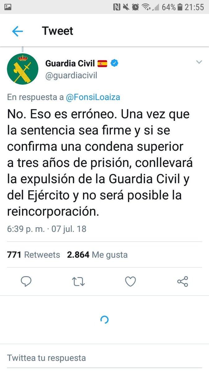 Hace una semana me pusisteis de mentiroso públicamente, hoy habéis reincorporado a un violador a vuestras filas @guardiacivil Sois una puta lacra para nuestro país.