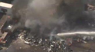 #BREAKING: SKYFOX over a scrap yard fire in Sharon Hill, PA