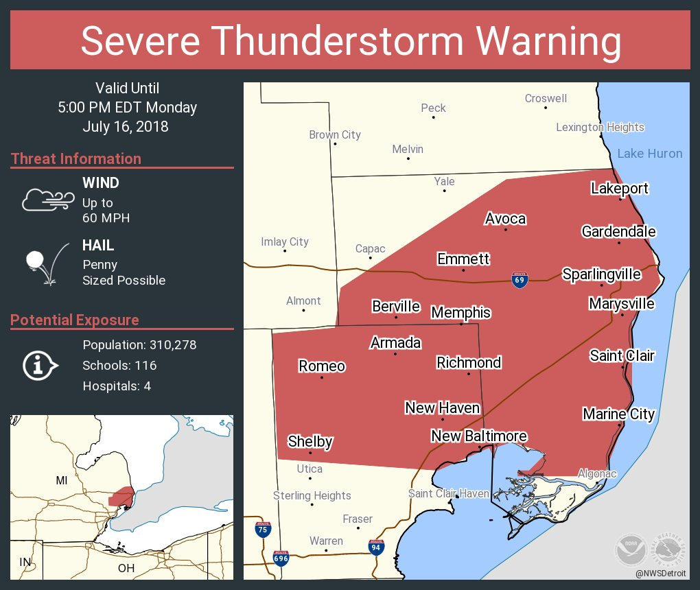 Marysville Michigan Map.Nws Detroit On Twitter Severe Thunderstorm Warning Including Port