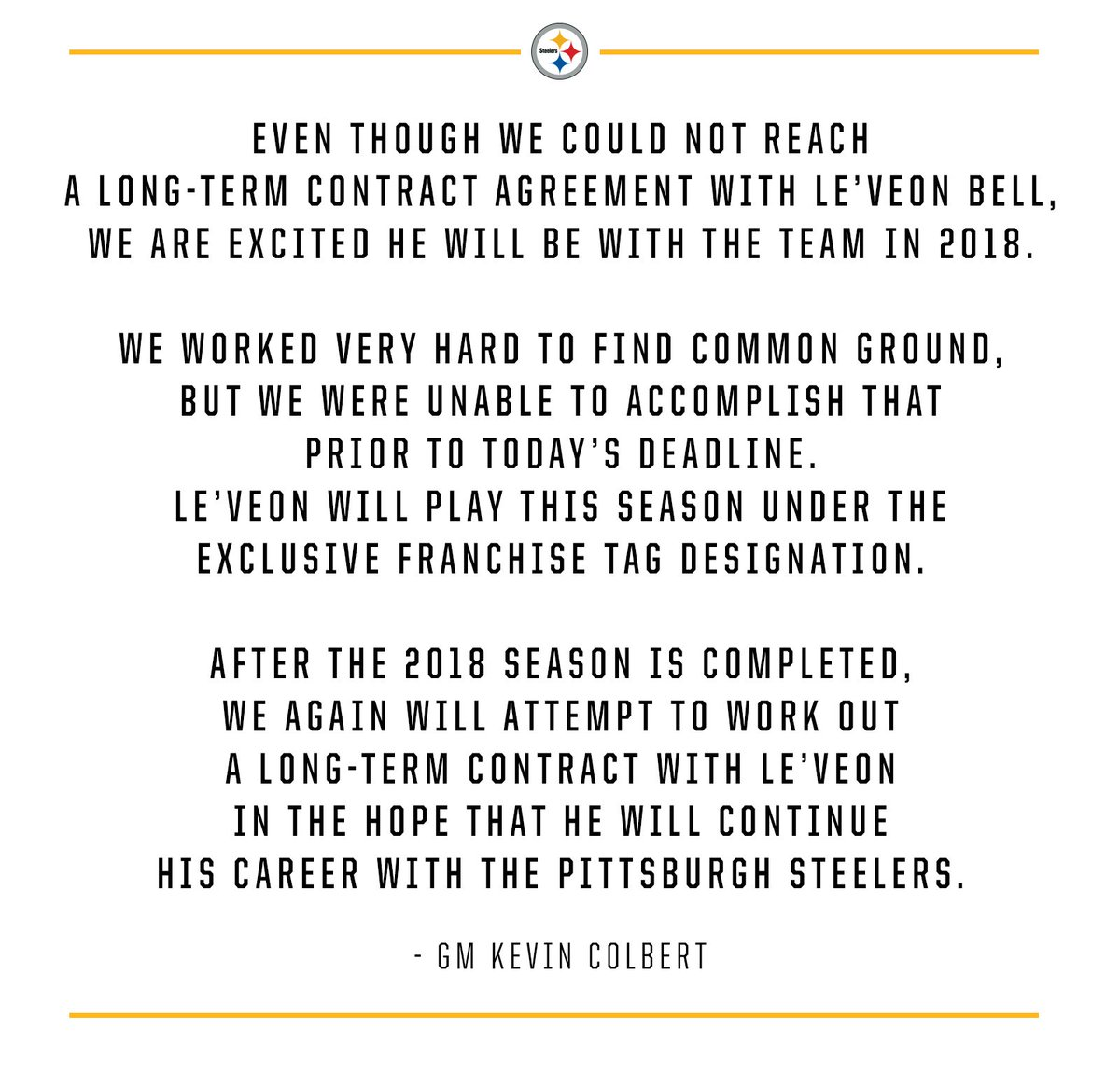 Pittsburgh Steelers On Twitter Statement From Gm Kevin Colbert On