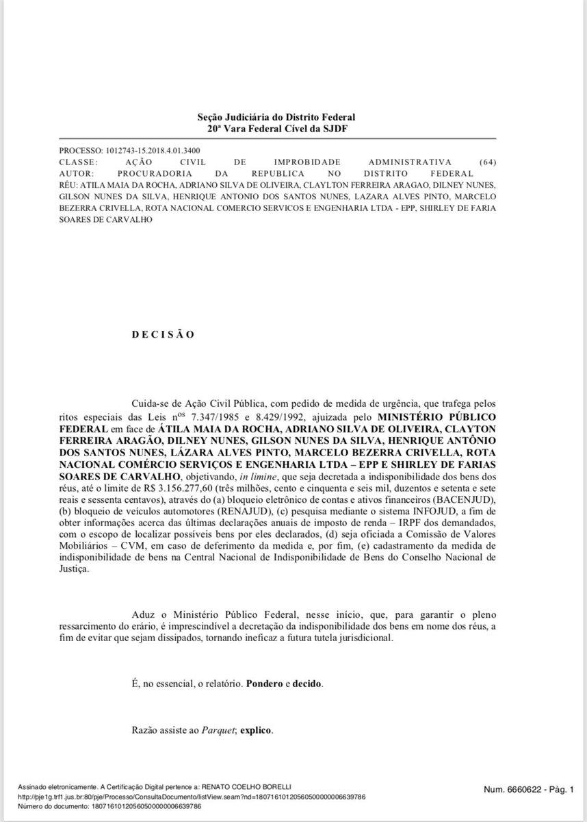 1/ O juiz Renato Borelli, da 20a Vara federal de Brasília, ordenou o confisco de R$ 3,15 milhões em bens, contas correntes, imóveis e veículos do prefeito do Rio, Marcelo Crivella (PRB). (via @eduardomilitao)