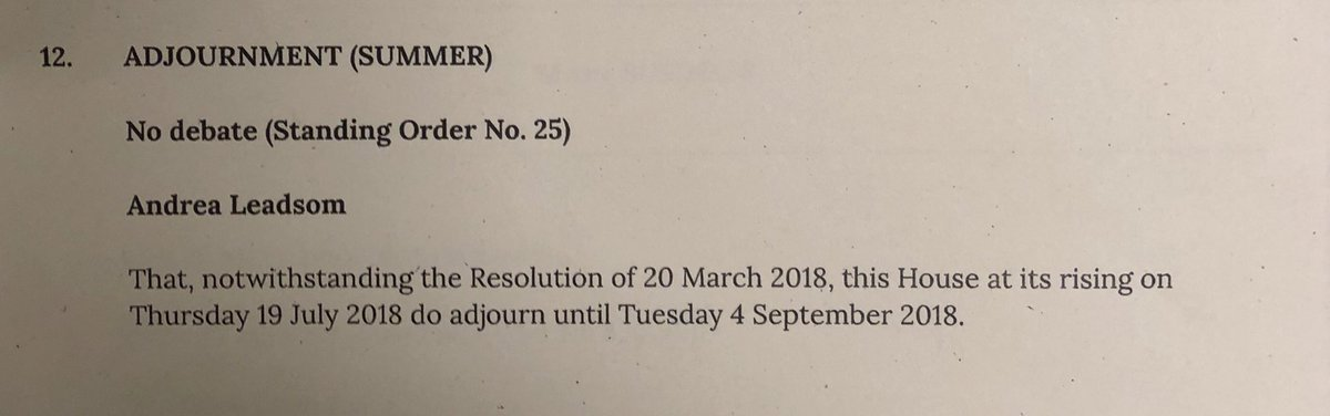 It's official: Government tables Adjournment (Summer) motion to starts Commons recess four days earlier than anticipated this Thursday. Which narrows window for potential rebellion/awkwardness...
