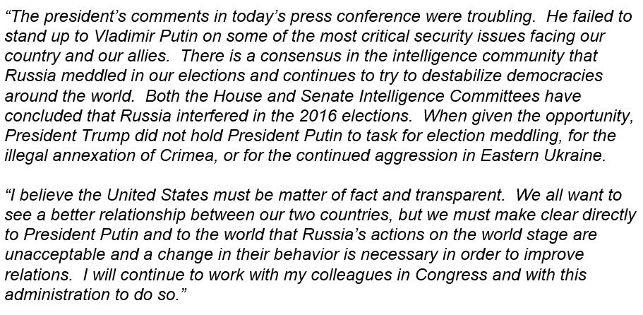 Here is my full statement on today's Helsinki summit press conference: