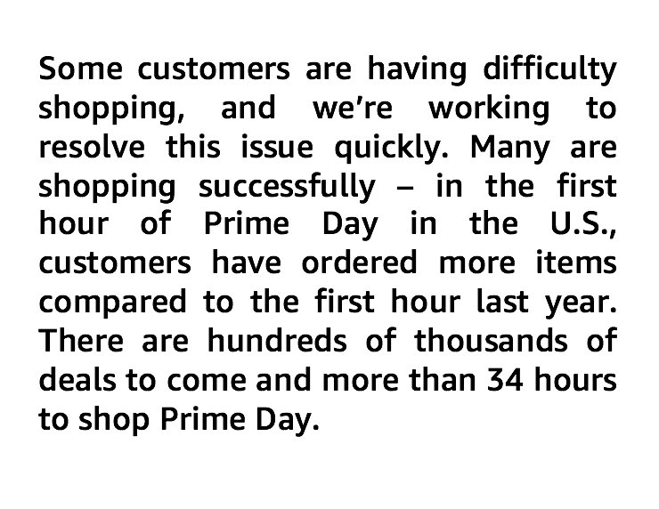 From @amazon about #PrimeDay crashing: