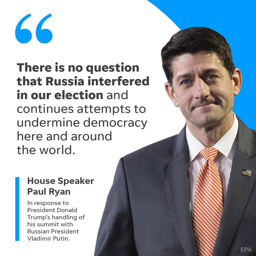 House Speaker Paul Ryan criticized President Donald Trump's handling of his summit with Russian President Vladimir Putin. https://t.co/Qpn0ikGNot