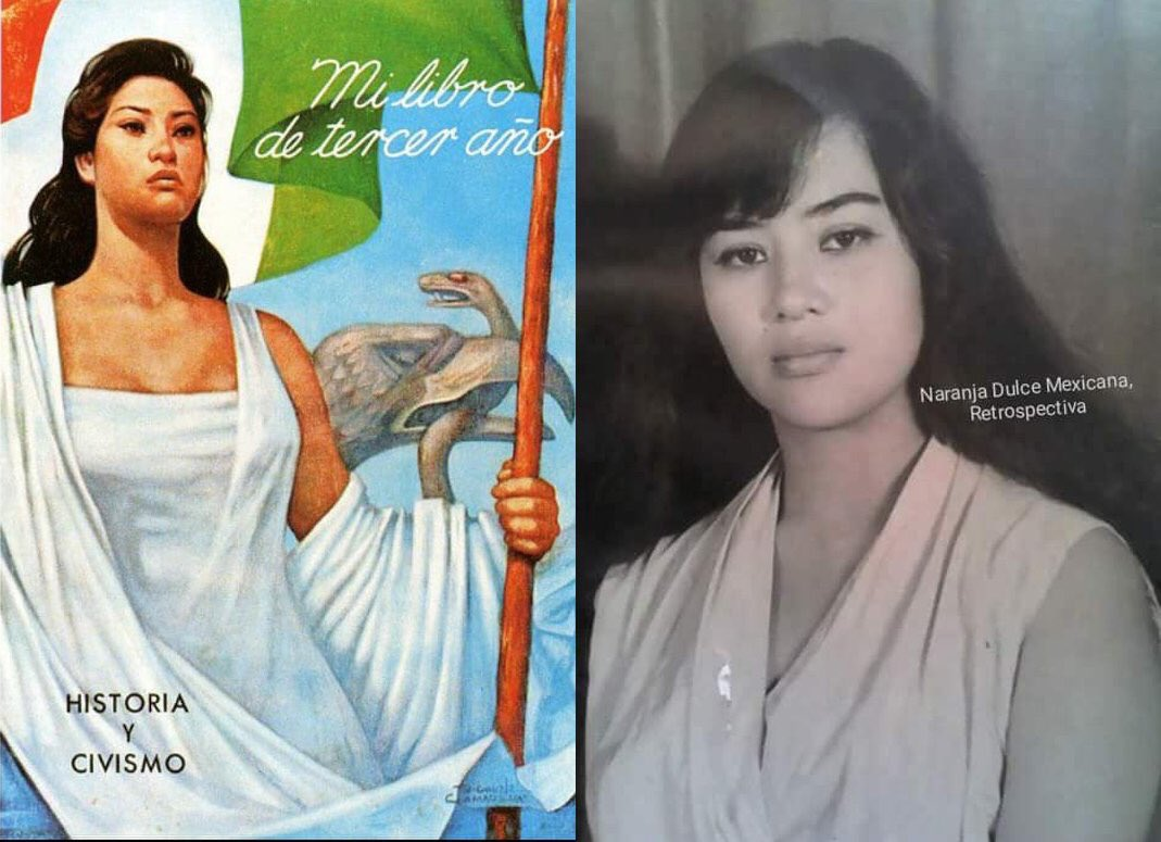 Victoria Dornelas la mujer que inspiró a Jorge González Camarena para pintar su famoso cuadro La Patria (1962). Ella representaba al ideal de la mujer mexicana: ojos profundos, cabello azabache, piel morena, hermosa, segura de sí misma, majestuosa.  @INAHmx Via @Narusailor
