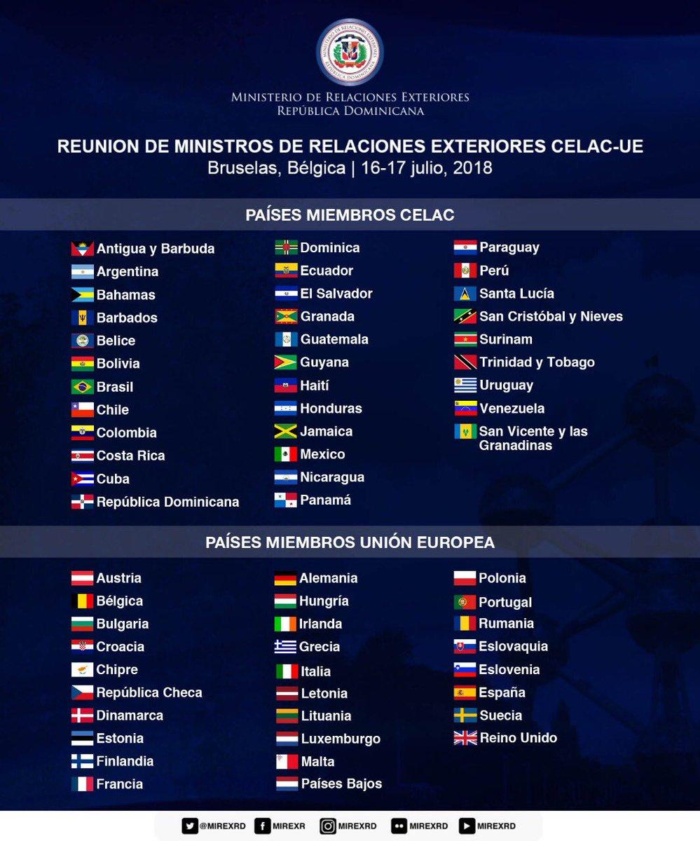 """Cancillería RD🇩🇴 على تويتر: """"🔵 #Informate ¿Cuáles son los países miembros  de #CELACUE? #UECELAC #DiplomaciaDigitalRD… """""""