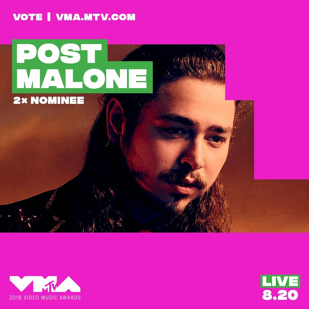 @PostMalone did you hear?! you're nominated at the 2018 #vmas ⚠️ vote now at https://t.co/CGTLSIBpj8