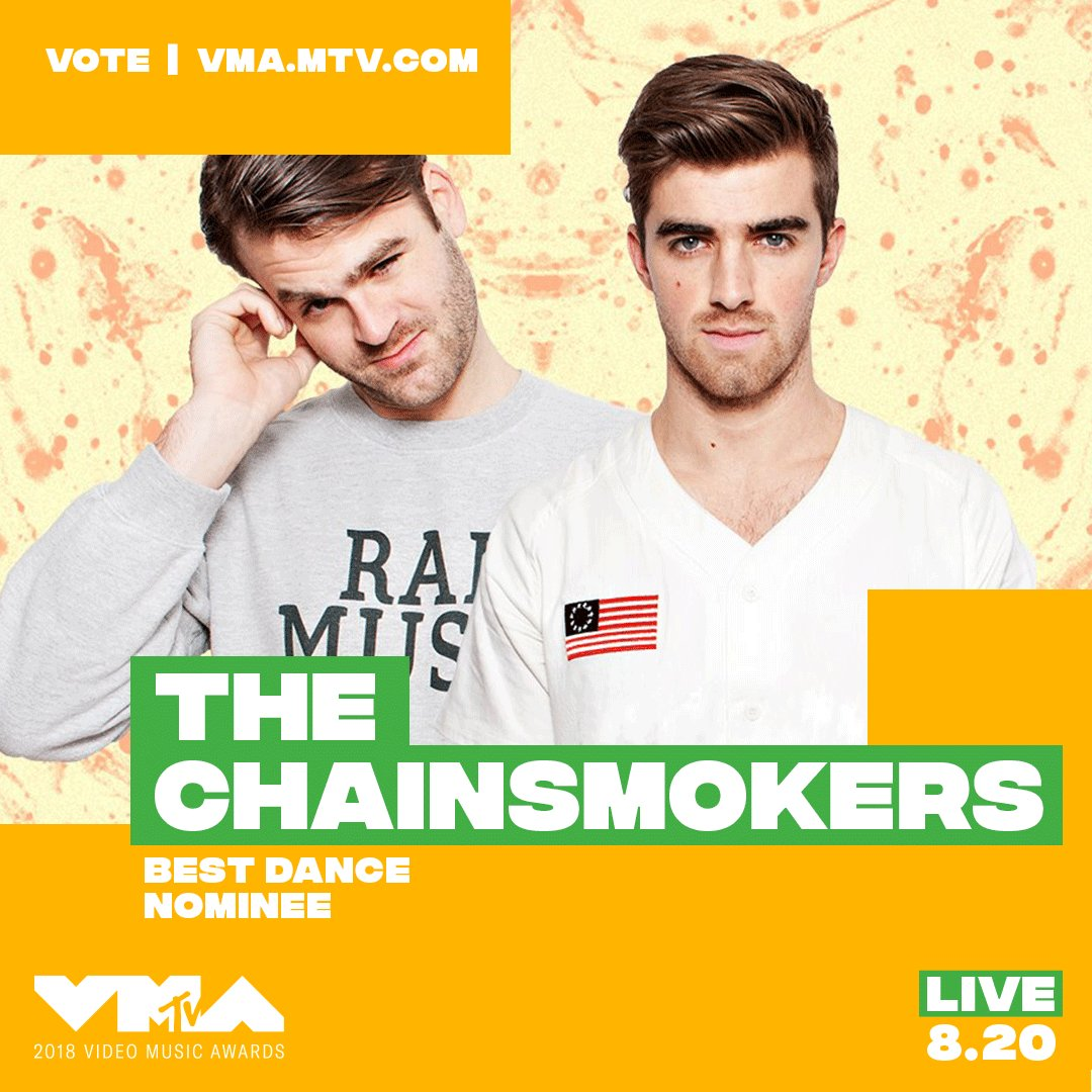 @TheChainsmokers HI! did you hear you're nominated at the 2018 #vmas?! ✨ vote now at https://t.co/CGTLSIBpj8