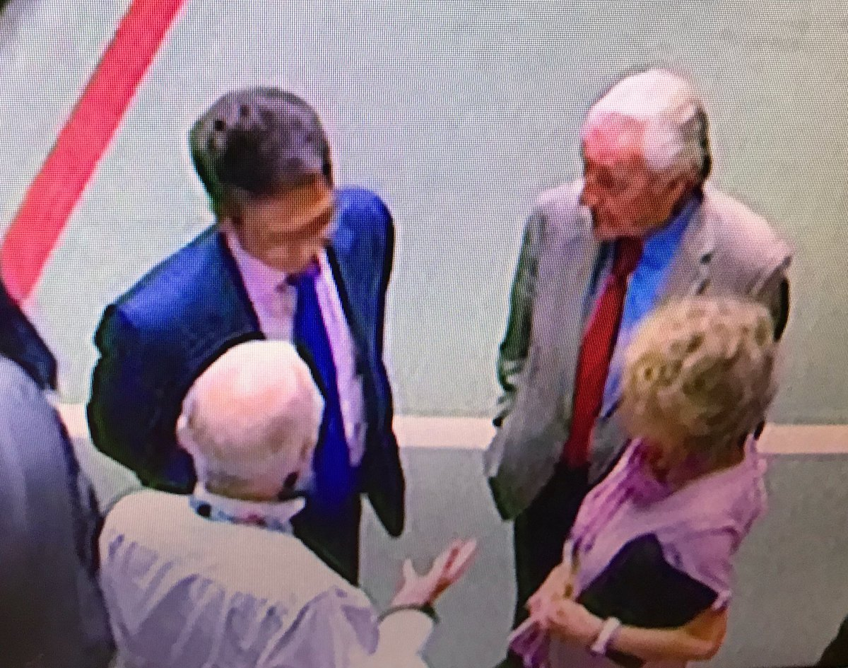 And a picture tells a thousand words - effective ERG Brexiter whip recently resigned Brexit minister Steve Baker confers with the Labour MPs who brought victory - Field and Hoey