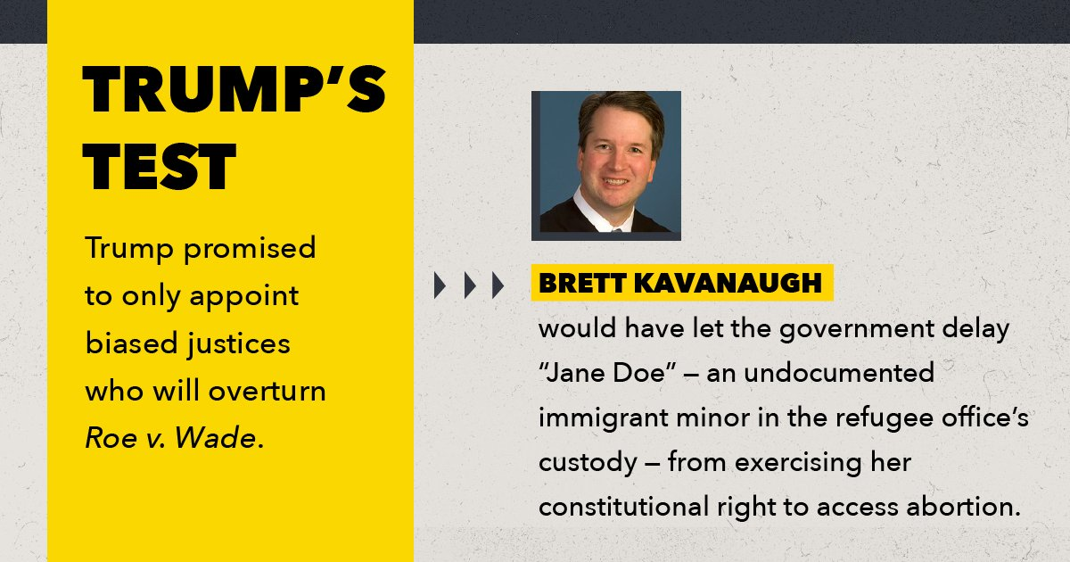 Just last year, Brett Kavanaugh attempted to block a young undocumented woman in US custody from accessing a safe, legal abortion, even after she had already met all of a Texas state court's onerous requirements. #WhatsAtStake #SCOTUS