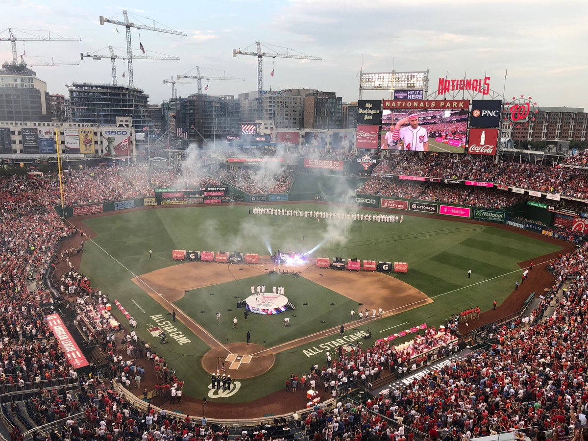 They're putting on a show for the introductions for All-Star home run derby, complete with a DJ and fireworks