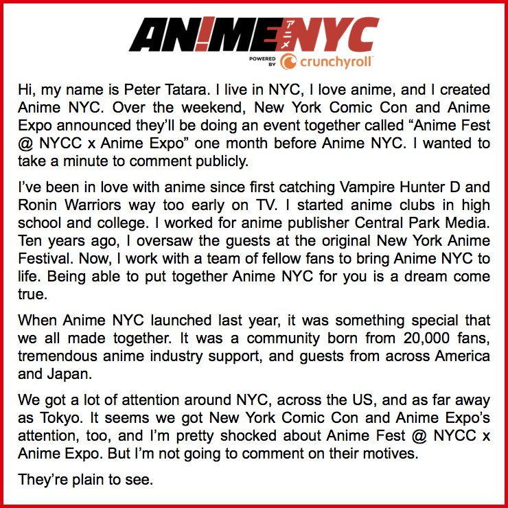 So What Does Anime NYC Think Of Fest NYCC X Expo Animenyc Animeexpo Nycc Afnycc Bitly Afnyccax Pictwitter ASF9Odqn6d