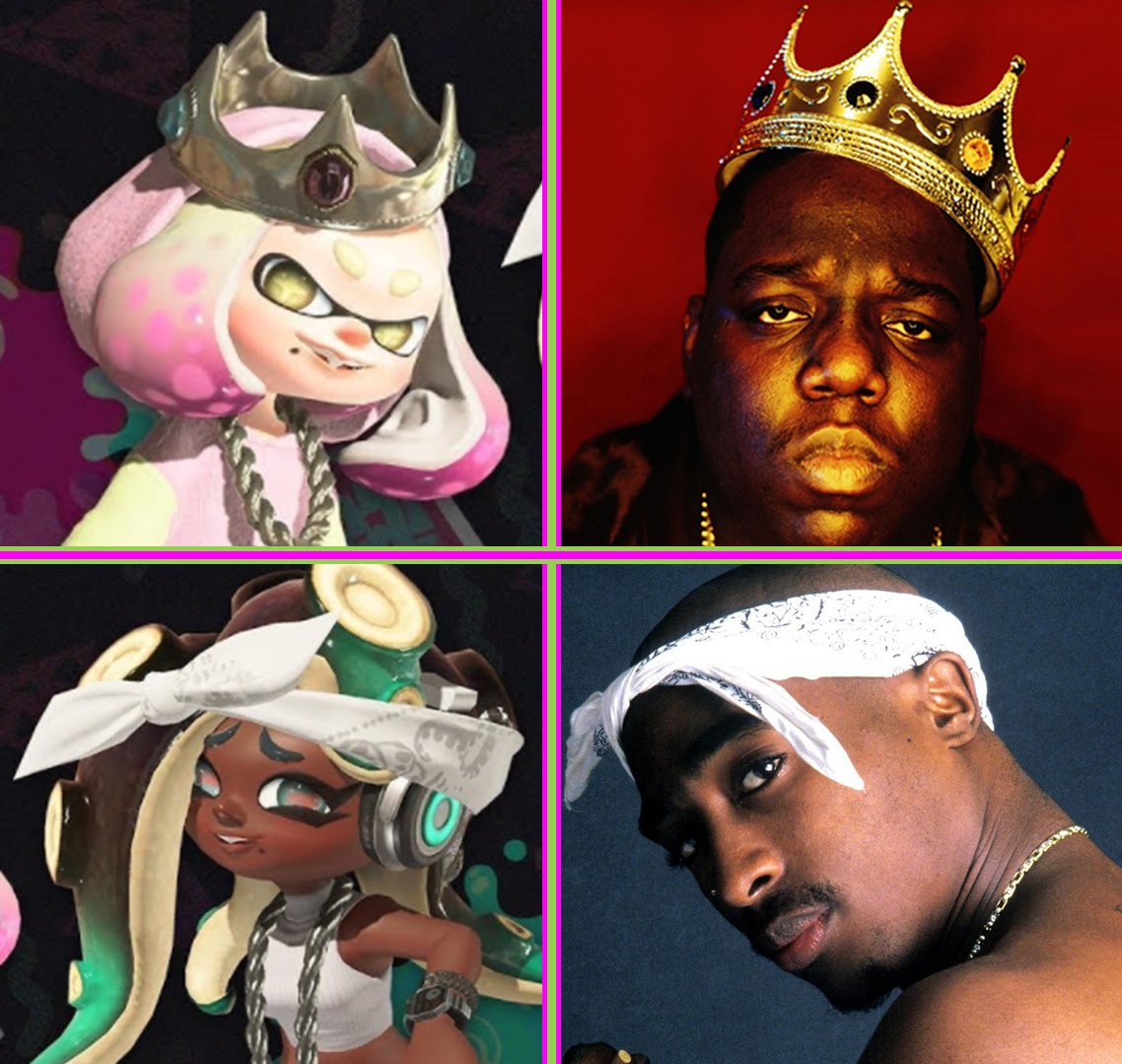 DAILY NINTENDO FACT #197   The designs of Pearl and Marina from the Octo Expansions are a reference to the real American rappers Notorious B.I.G. and Tupac Shakur, respectively, as both wear the same distinctive accesory on their heads. <br>http://pic.twitter.com/fm8TuLJoTP