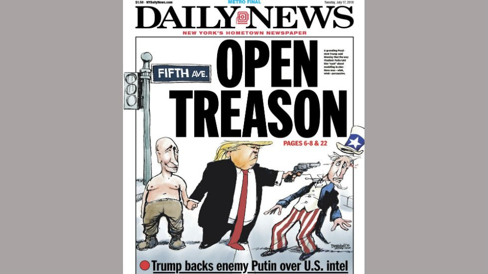 Trump's hometown paper shows him shooting Uncle Sam in the head after Putin summit https://t.co/6EGFmwxBrf https://t.co/mhbGbY7W8q