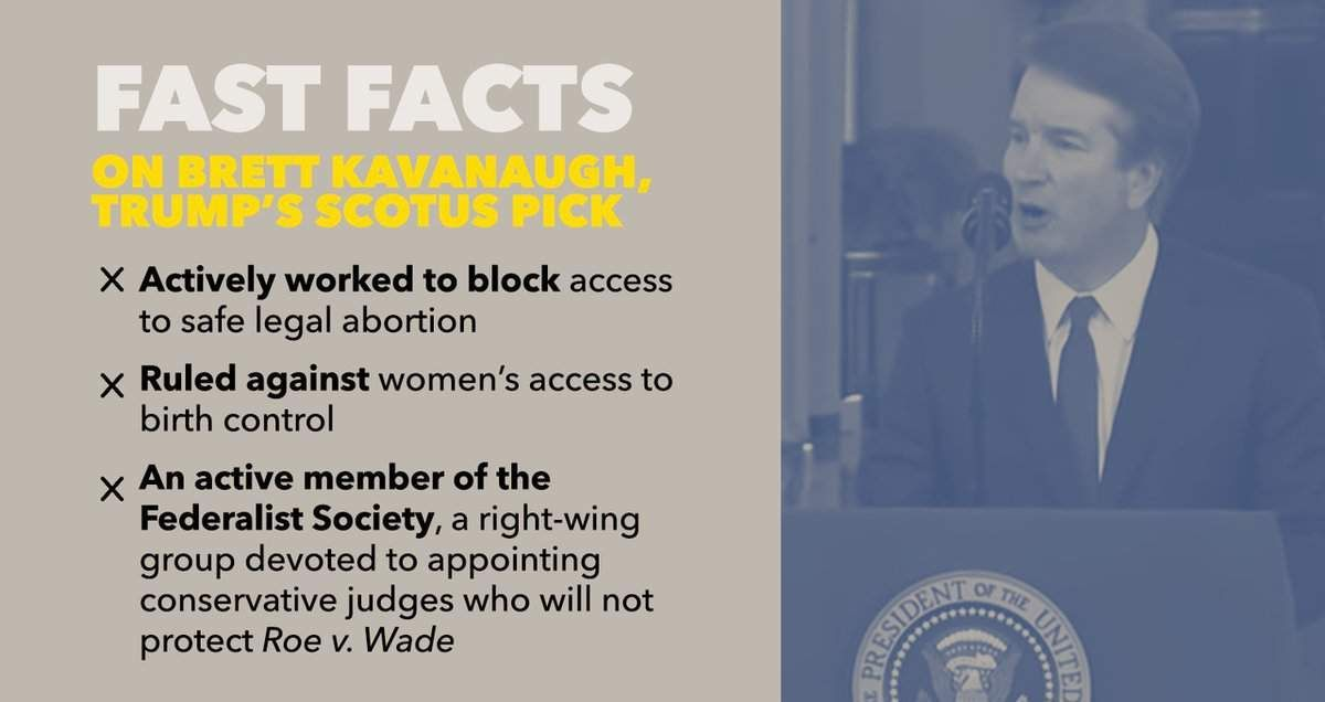 Brett Kavanaugh will tip the balance of the court — turning it against a woman's constitutional right to access abortion in this country. What you need to know: #StopKavanaugh #SCOTUS https://t.co/7fub48rlRU