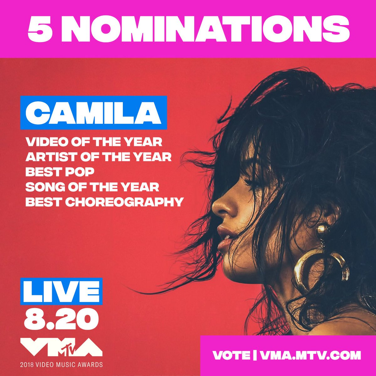 WHOAH. thank you so much @mtv for my 5 VMA nominations 😚😦😚 https://t.co/5aeTkoAS4O