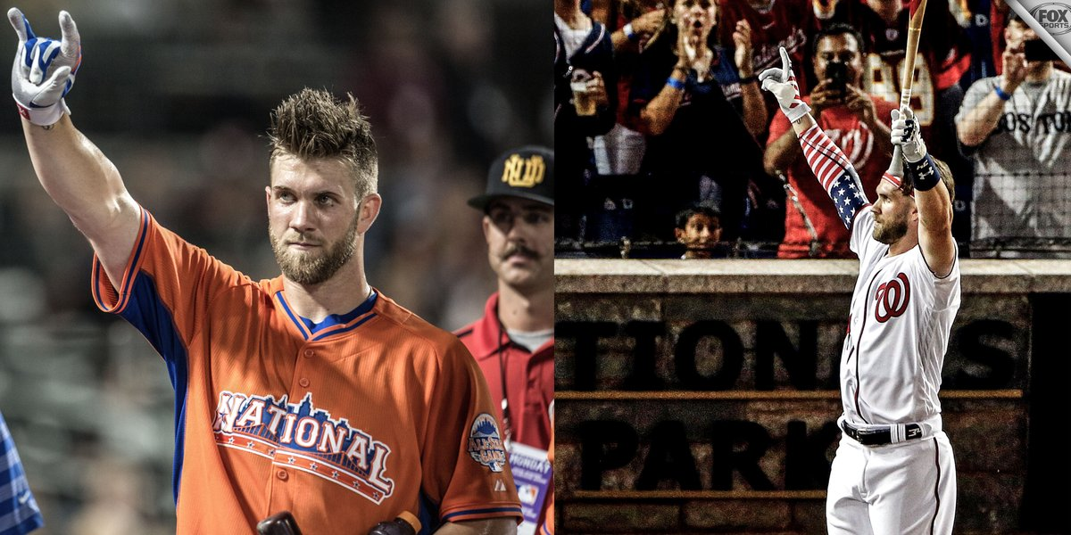 Bryce Harper is back in the HR Derby Finals for first time since 2013.  Will he bring it home this time.