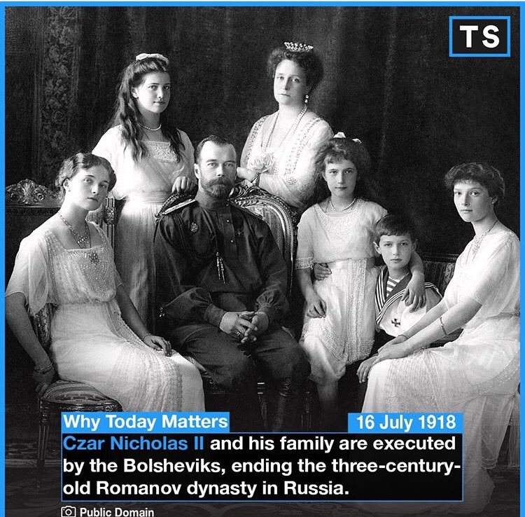Today is the 100-year-anniversary of this pivotal event. Interestingly, the remains of Nicholas, Alexandra and three of their children were excavated in a forest near Yekaterinburg in 1991 and positively identified two years later using DNA fingerprinting. #OTD #history