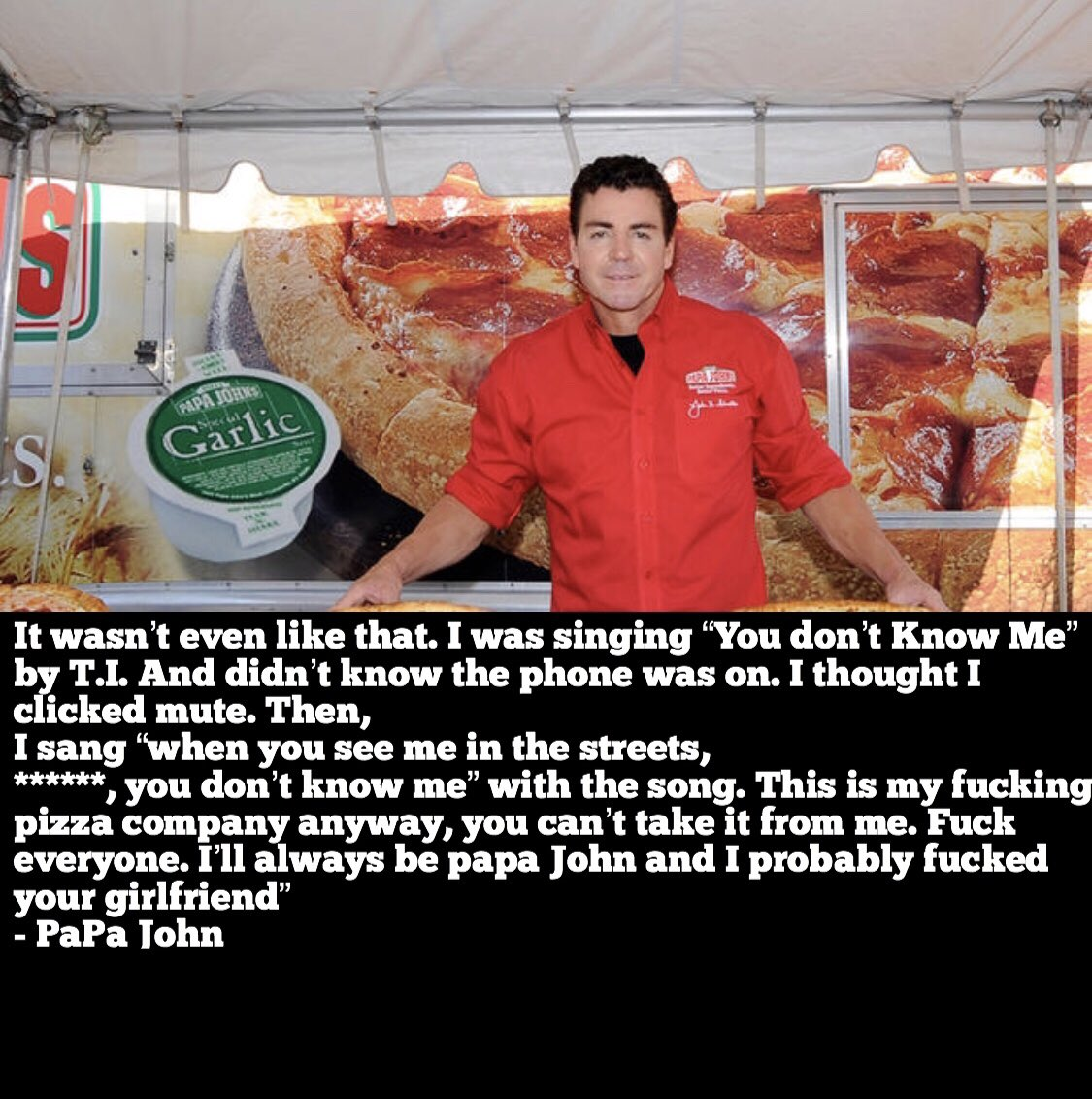 Papa John risking it all with this statement after being kicked out of his own company. This is crazy, I had no idea <br>http://pic.twitter.com/NXjRdUDspQ