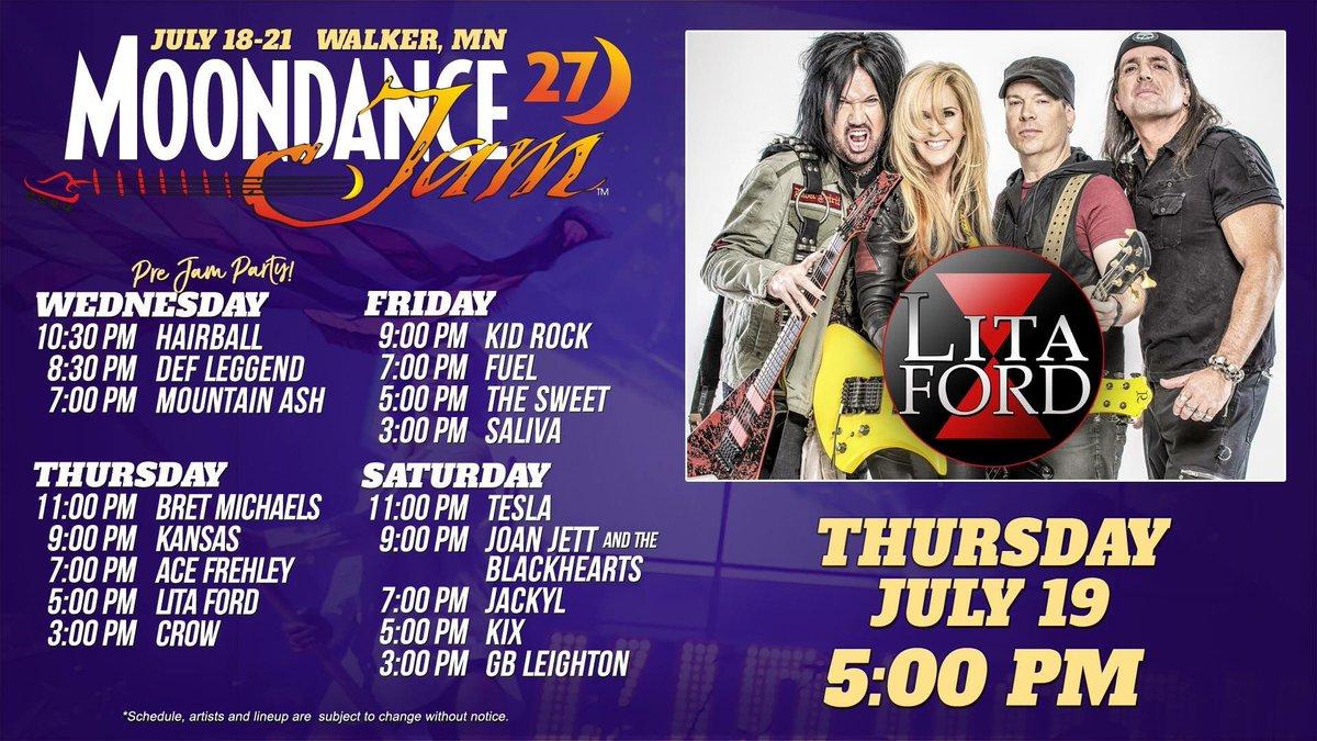 Just a few more days til the @MoondanceJam! July 19 - Walker, Minnesota! Huge 3-day festival. Visit LitaFordOnline.com for info & more tour dates!