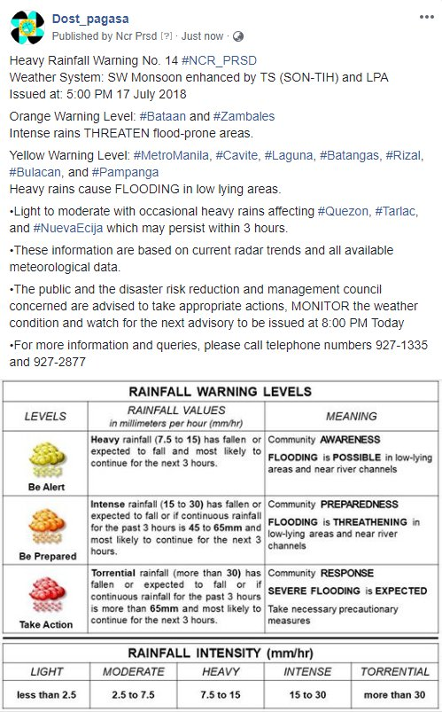 Heavy Rainfall Warning No. 14 #NCR_PRSD Weather System: SW Monsoon enhanced by TS (SON-TIH) and LPA Issued at: 5:00 PM 17 July 2018
