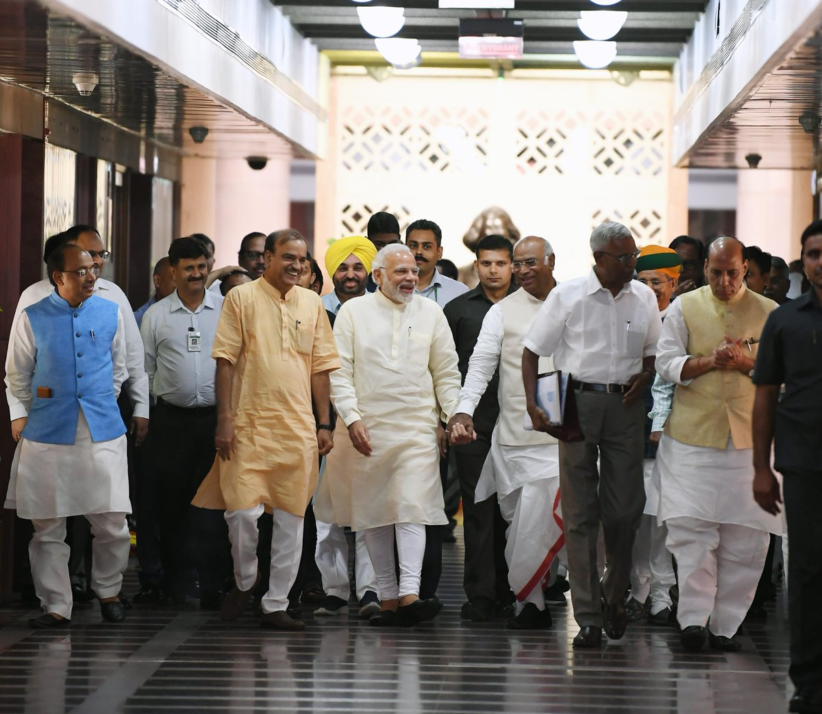 PM @narendramodi and other leaders at the all-party meeting at the Parliament Library in New Delhi.