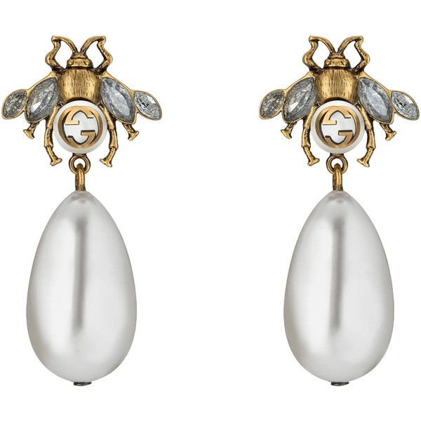 Gucci Bee Earrings With Drop Pearls found on Polyvore featuring jewelry, earring... #indianwomendress #pakistaniwomendress #womenjackets #womenjeans #womenjewellery #womenjoggers #womenrights #womensuitdesign worldshoppingonline.site/gucci-bee-earr…