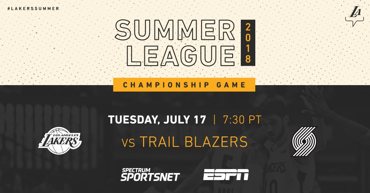 #LakersSummer is looking to go back-to-back! Catch the title game tomorrow night at 7 PT.