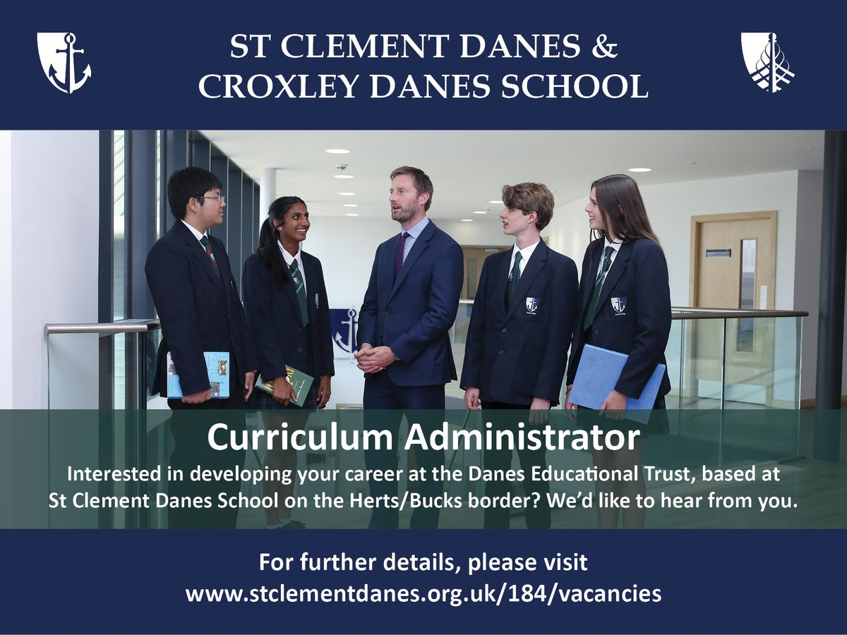 An opportunity has arisen to join the Trust as a Curriculum Administrator, based at SCD. Closing date 10am 27 July 2018. For more details, please see: https://t.co/bSQSShJ85j https://t.co/6J9i6onz2K