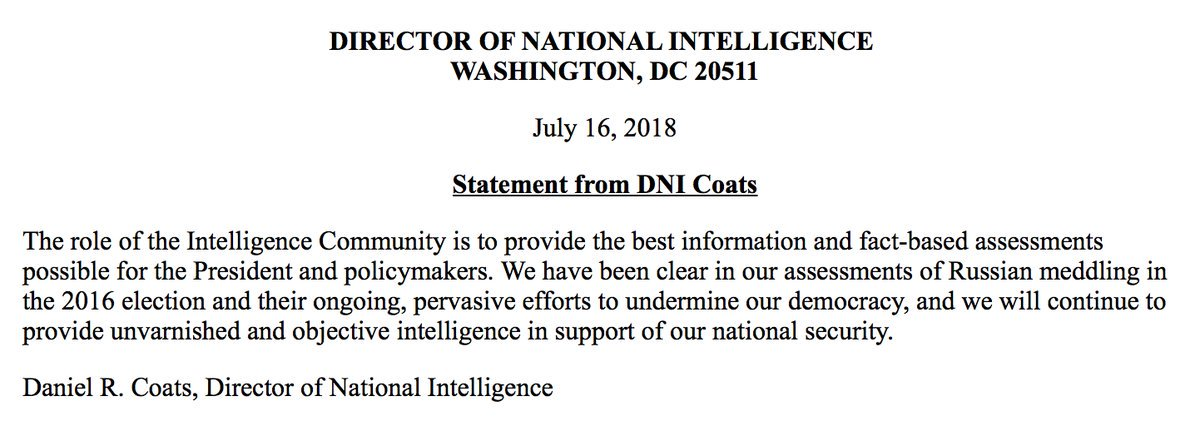 Head of intelligence community fires back after Pres. Trump casts doubt: 'We have been clear in our assessments of Russian meddling in the 2016 election.' https://t.co/OP20zXtBKS