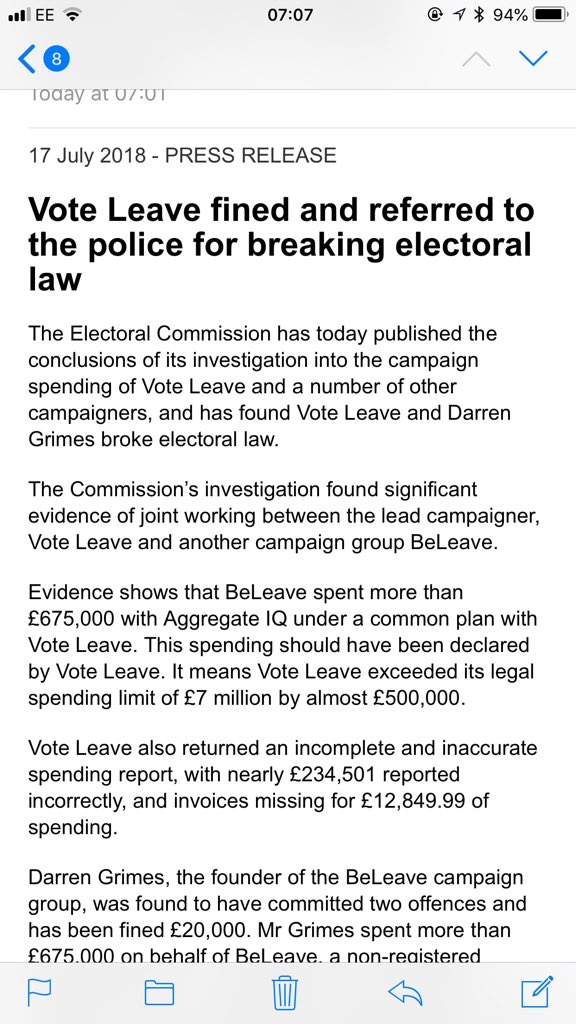 Breaking from Electoral Commission: Vote Leave fined £61k and referred to police for breaking electoral law. Vote Leave exceeded spending limit by nearly £500k
